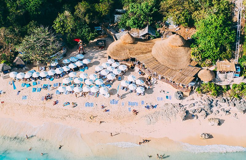 Drone shot of a Bali beach club - Karma beach Bali