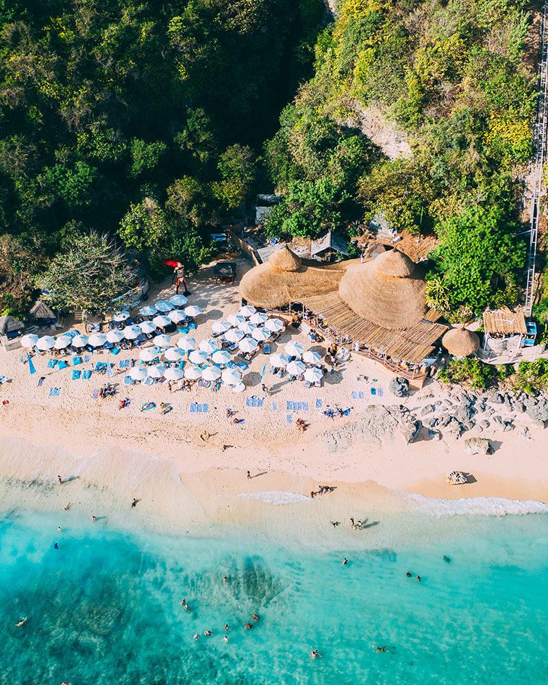 Drone shot of Karma Beach Bali - one of the best beach clubs in Bali