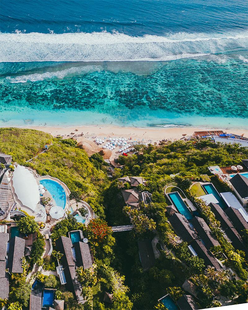 Drone shot of Karma Beach Bali and Karma Kandara Resort