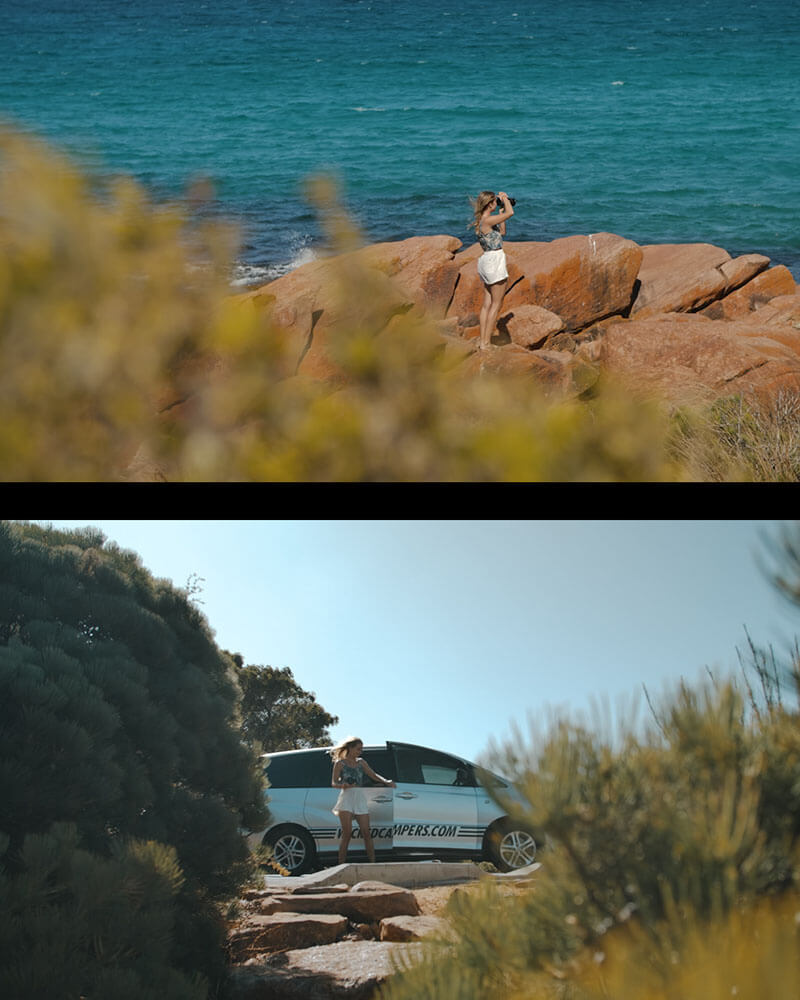 Sea and our van by the beach