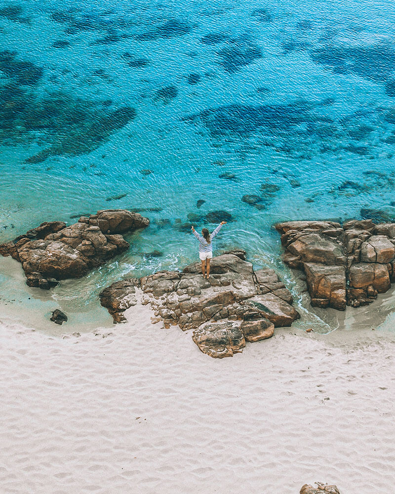 Drone shot of a beach and sea in Australia