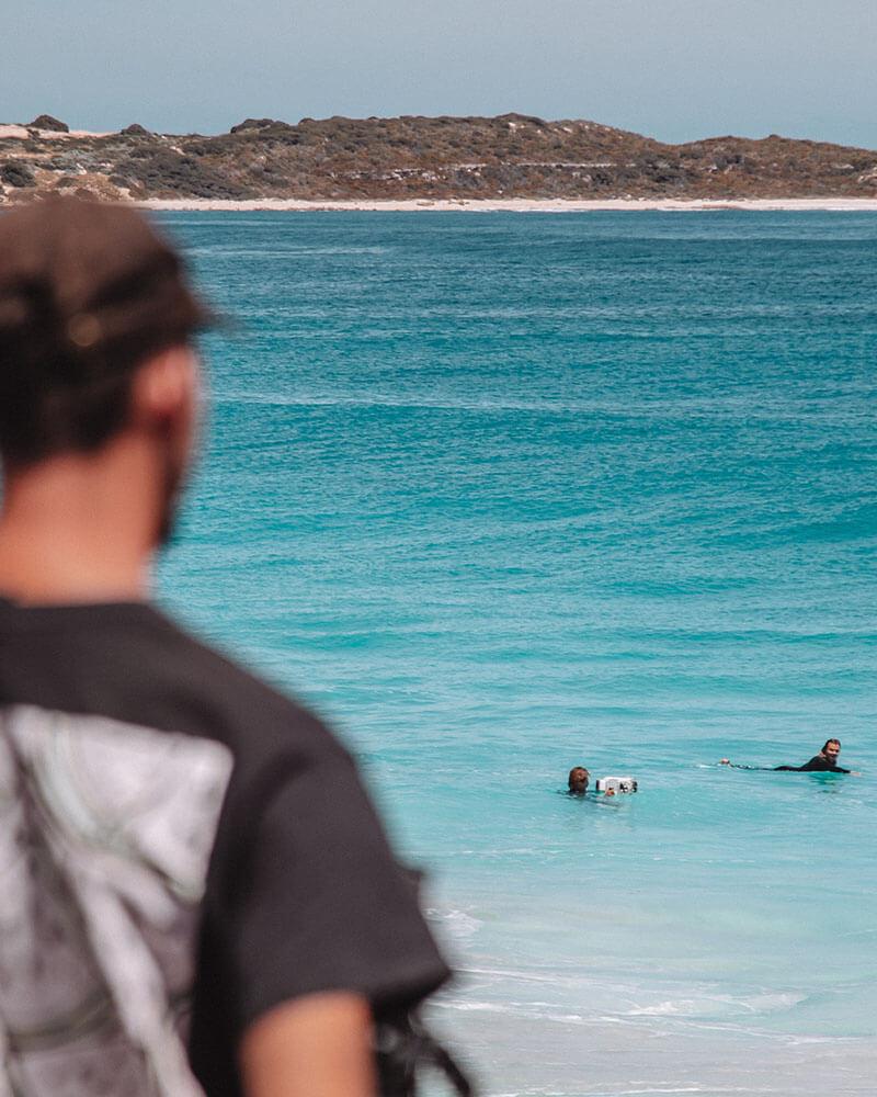 Boyan watching the surfers at Indijup Natural Spa
