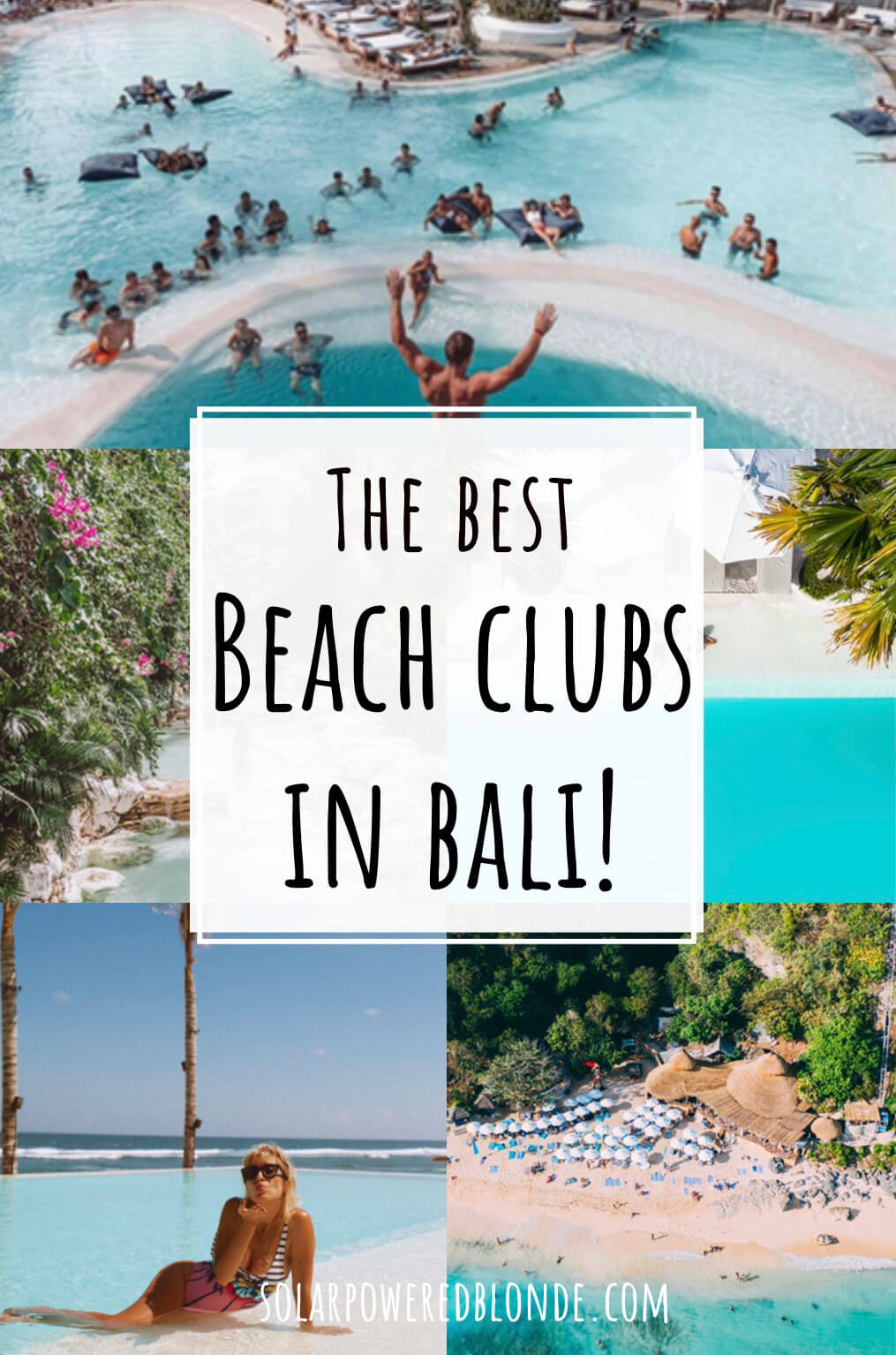 The best beach clubs in bali pinterest graphic
