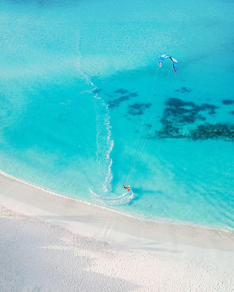 Drone shot of kitesurfers in Aruba at Boca Grandi