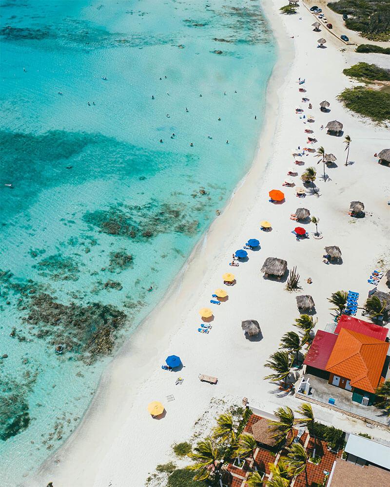 Drone shot of Arashi beach in Aruba
