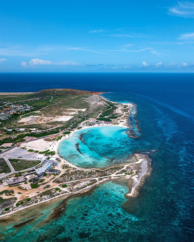 Drone shot of Baby Beach, Southern Aruba, netherlands Antilles