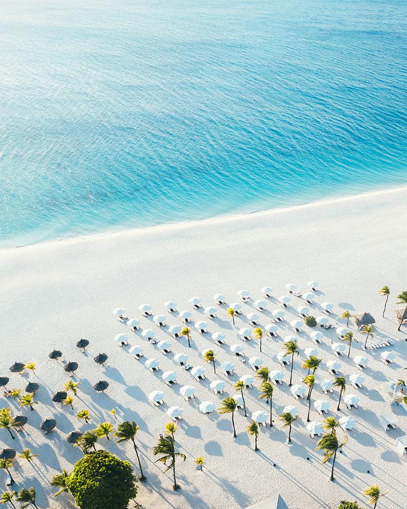 Drone shot of Manchebo beach featuring Bucuti and Tara resort