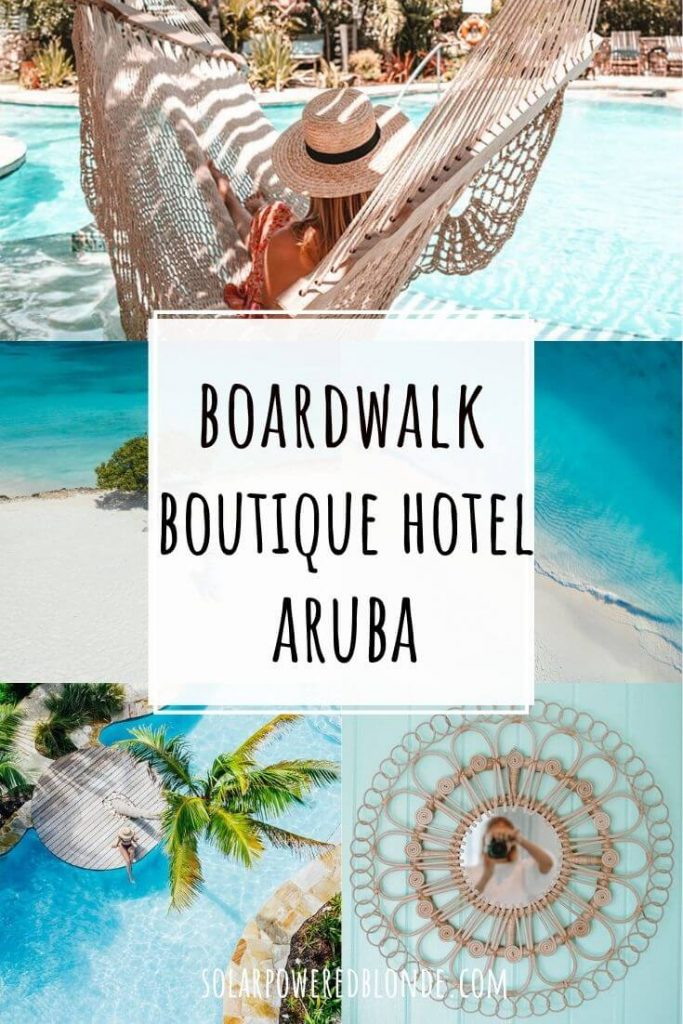 A collage of images from Boardwalk Hotel Aruba for Pinterest