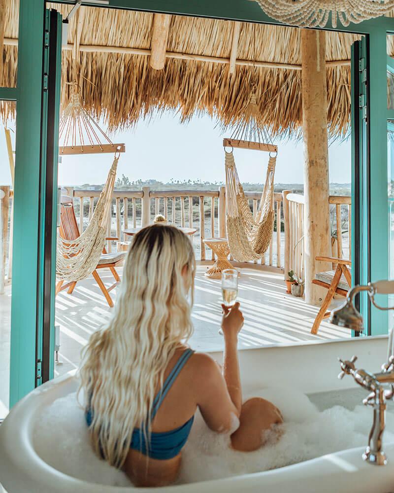 Jenna in the bath at the Boardwalk Hotel