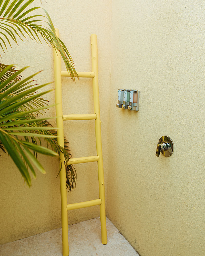 Outdoor shower at a hotel in Aruba