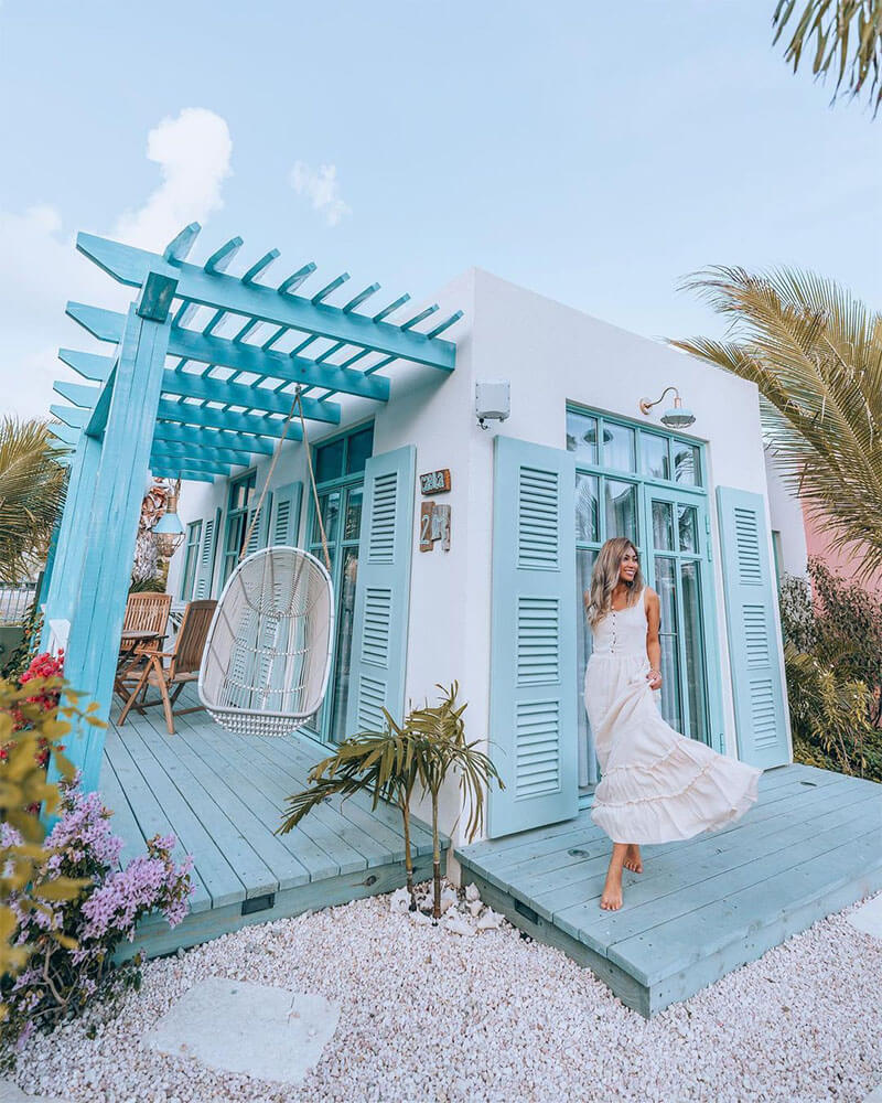 A stunning patio at a boutique hotel in Aruba